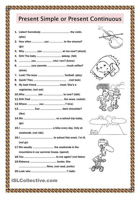 printable worksheets simple present tense present simple or present continuous esl worksheets of