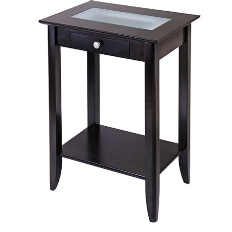tall accent table syrah tall end table with frosted glass walmart com
