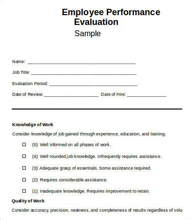 employee evaluation form template 13+ free word, pdf
