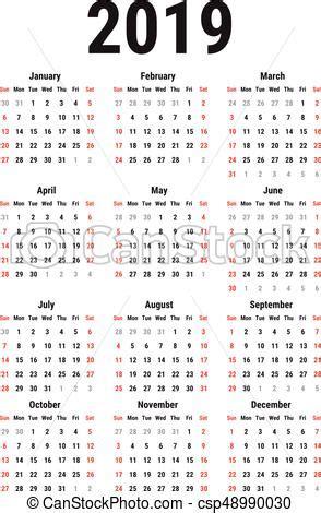 calendario, 2019. semana, simple, comienzos, blanco, fondo