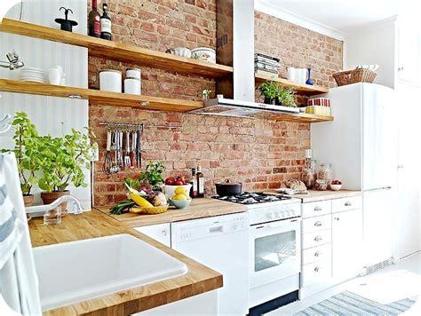 brick kitchens brick wall in the kitchen open shelves kitchen