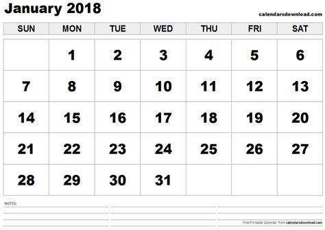 printable calendar jan 18 january 2018 calendar printable free