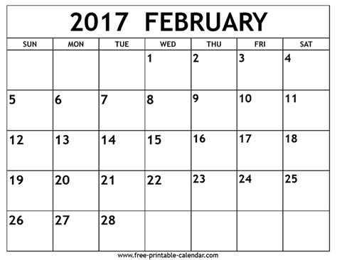 Febuary Calendar Free February 2017 Calendar Printable February Is A Month