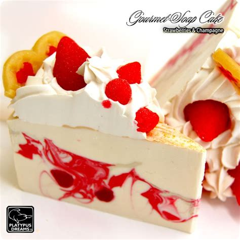 Wholesale Handmade Soap Cakes - strawberry slice soap cake strawberries and chagne