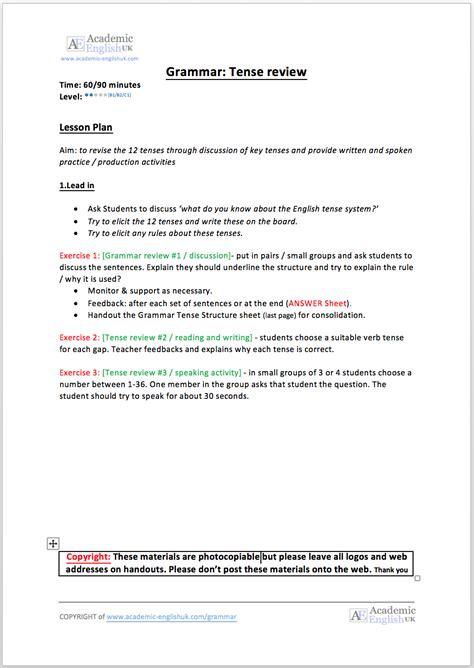 Tenses Review academic grammar