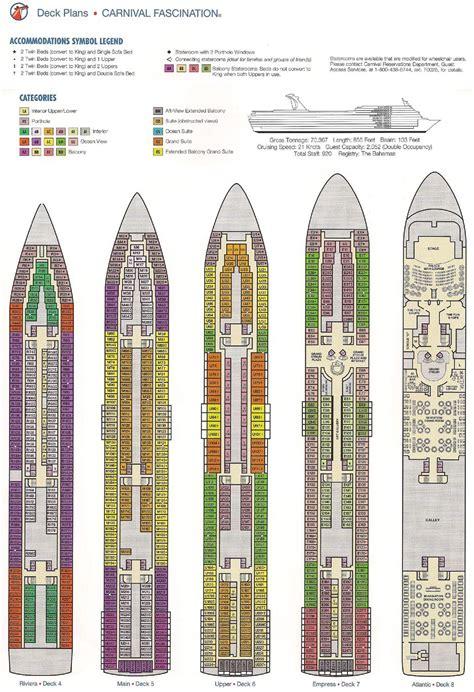 Carnival Sensation Floor Plan by Carnival Fascination Deck Plan