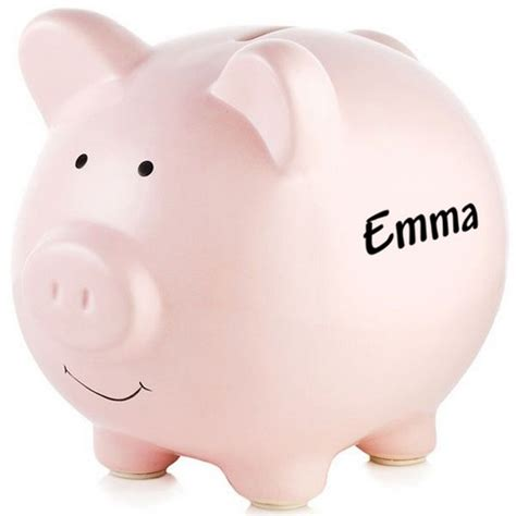 piggy bank personalized pink ceramic piggy bank