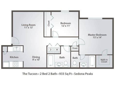 2 Bedroom Apartments In Tucson by 3 Bedroom Apartment Floor Plans Pricing Sedona Peaks