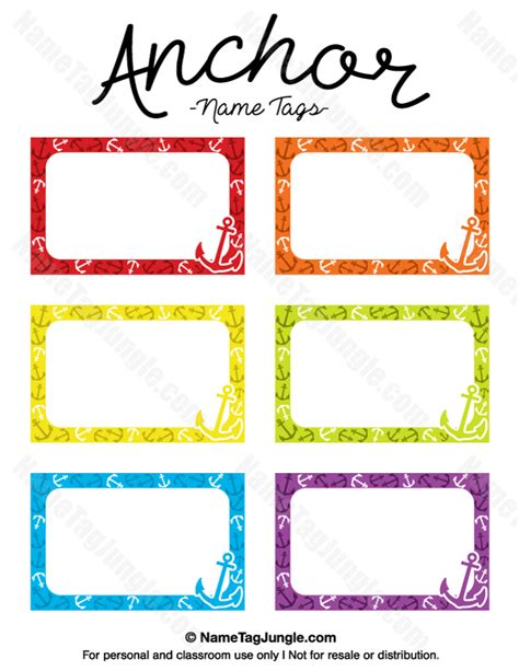 printable name tag color printable anchor name tags
