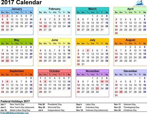 Calendar With Holidays Free Calendar 2017 Printable Template Pdf Holidays