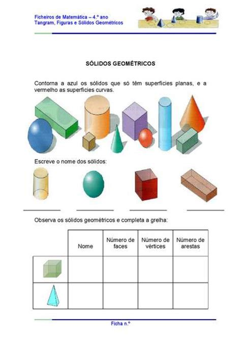 figuras geometricas atividades 4o ano atividades com s 243 lidos geom 233 tricos 4 186 ano aprender e