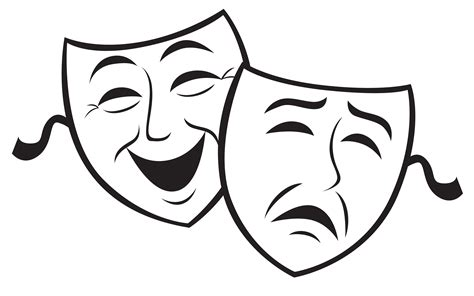 Theatre Mask Outline by Comedy And Tragedy Masks Images Cliparts Co