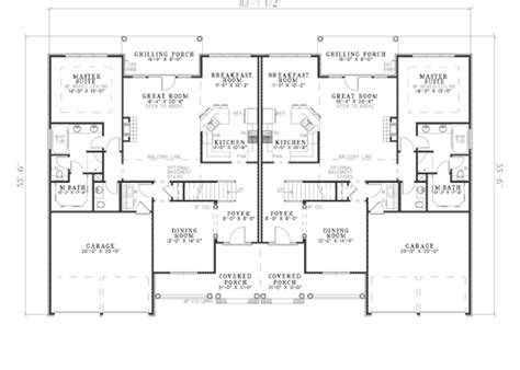 multi family house plans apartment bungalow traditional multi family plan 62198 bungalow