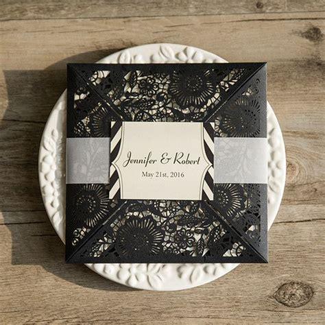 Black Wedding Invitations by Black Laser Cut Classic Stripes Wedding Invitations