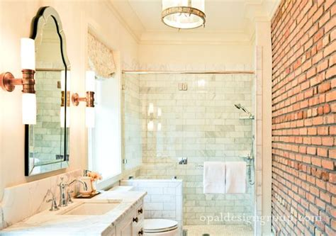brick in a bathroom bathrooms lowes allen roth hovan arch frameless mirror exposed brick wall seamless glass