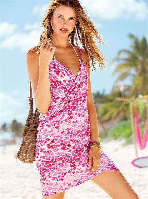 Victorias Secret Gorgeous Printed Wrap Dresses by S Secret Wrap Coverup Dress Blue M In Pink