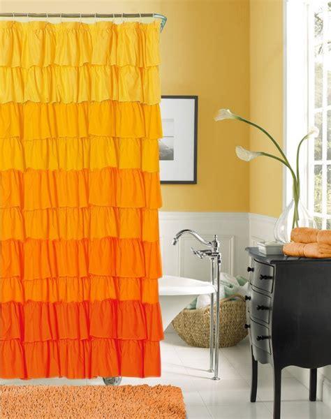 yellow ruffle shower curtain yellow and orange bathroom decor house decor ideas