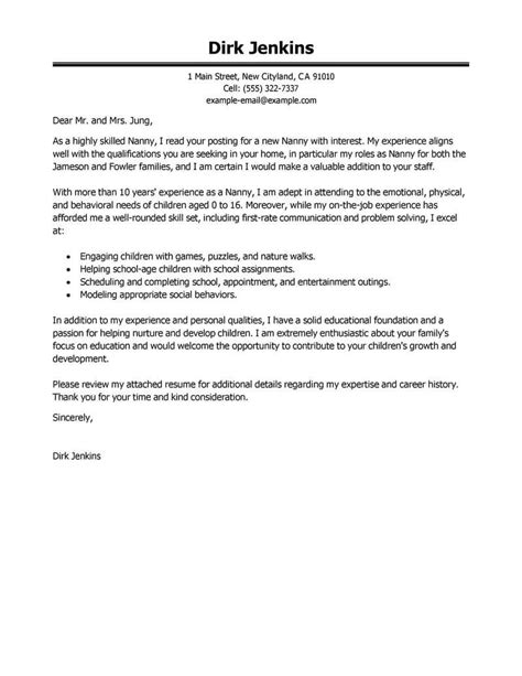 thank you letter after nanny position best nanny cover letter exles livecareer