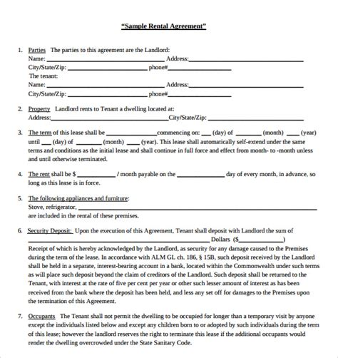 lease agreement template pdf sle blank rental agreement 9 free documents in pdf