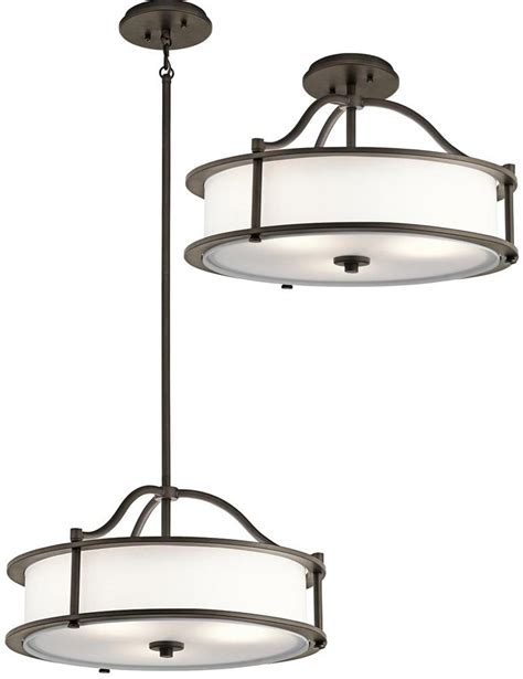 Flush Pendant Ceiling Light Kichler Emory Small 3 Light Ceiling Pendant Semi Flush Mount Olde Bronze