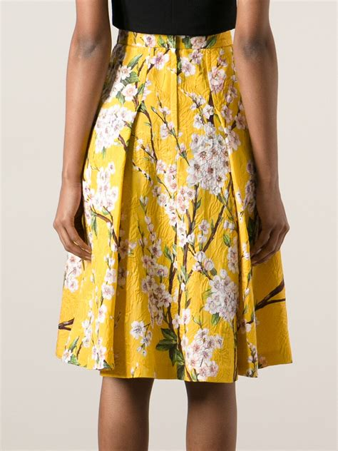 yellow patterned skirt dolce gabbana floral print skirt in yellow lyst