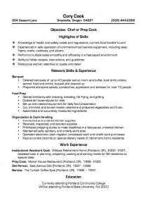 Cook Resume Objective Exles by Cook Resume Sle Template Design