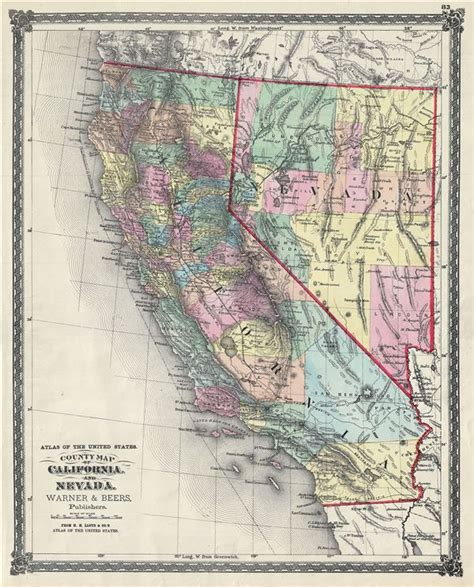 california map nevada atlas of the united states county map of california and