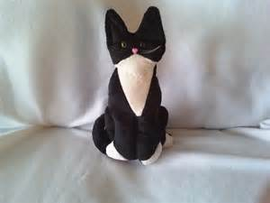 black and white stuffed tuxedo cat soft by