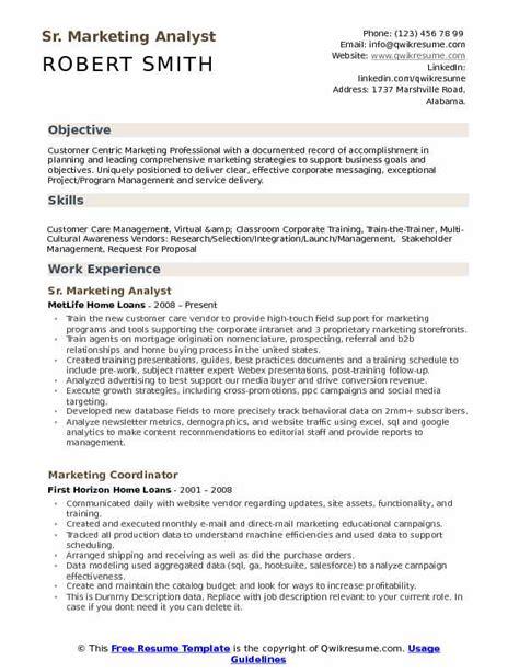 Marketing Analyst Resume by Marketing Analyst Resume Sles Qwikresume