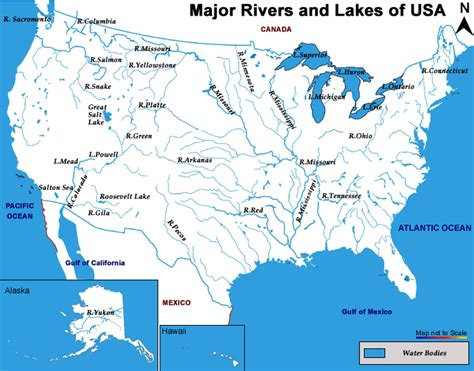 printable map of the united states with bodies of water lakes and rivers of the united states map work related