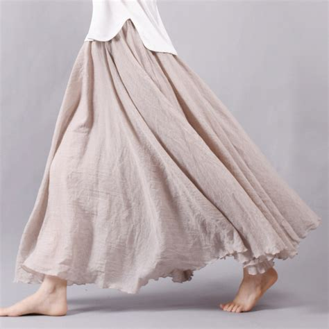 sherhure 2017 linen cotton skirts elastic waist pleated maxi skirts boho
