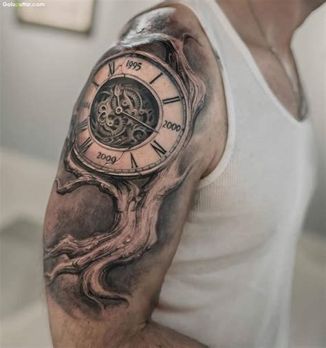 Tattoo Arm Vintage | crazy arm tattoo of vintage watch for men photos and