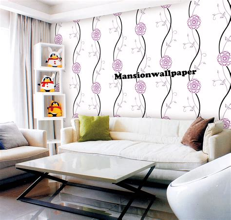 jual wallpaper dinding bunga simple minimalis ungu