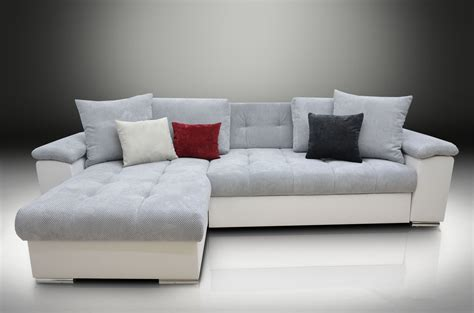 White Leather Corner Sofa Bed Mike Corner Sofa Bed White Eco Leather Silver Waffle Fabric