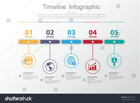 layout time long shadow design clean number timeline stock vector