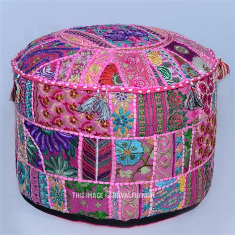 Indian Pouf Ottoman Pink Patchwork Embroidered Indian Ottoman Floor Seating Pouf 22 Quot X12 Quot Royalfurnish