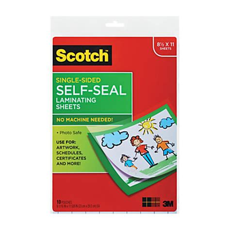 scotch laminating sheets 8 12 x 11 clear pack of 10 by office depot officemax
