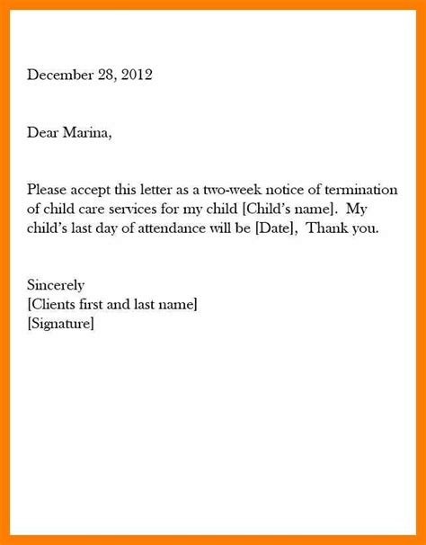 two weeks notice form letter resume format