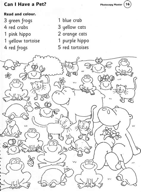 ANIMALS WORKSHEET read and colour   PinPoint