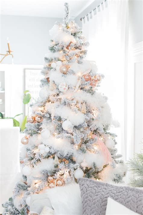 white christmas tree with white decorations home design