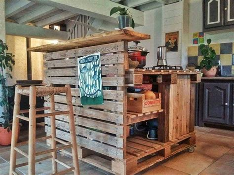 Wood Kitchen Island Table recycled pallet kitchen island table ideas pallet wood