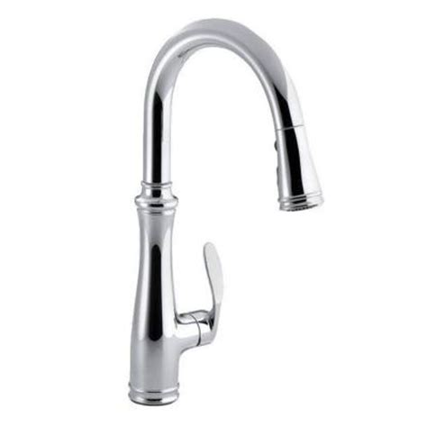 single hole kitchen faucet with sprayer kohler bellera 1 or 3 hole single handle pull down sprayer