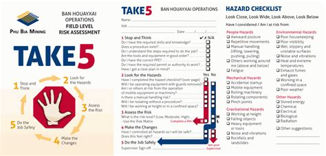 take 5 risk assessment template safety analysis worksheet abitlikethis
