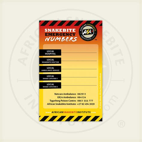 Freezer Mini Asi asi emergency numbers fridge magnet snakebite institute