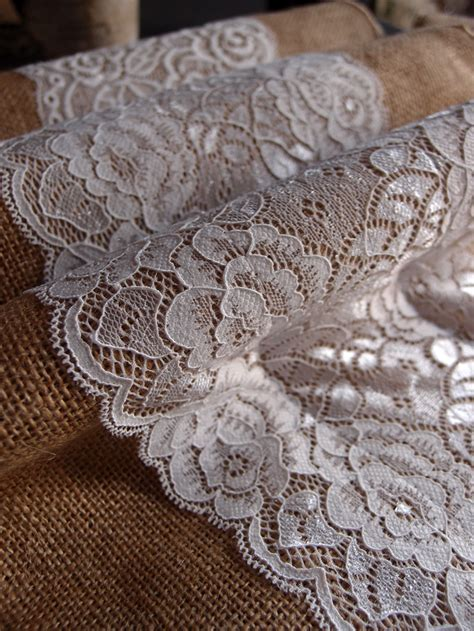 burlap table runners with lace for sale vintage burlap and lace style no 3 wedding table runner