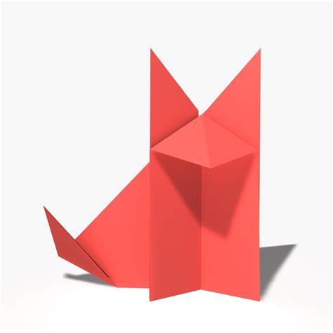 Origami Fox Advanced - origami fox 3d model