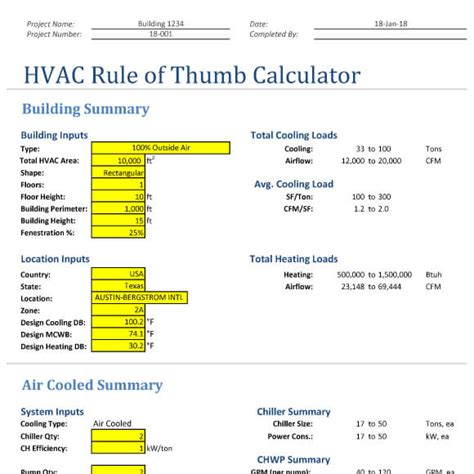 house design rules of thumb hvac rule of thumb excel calculator design tools