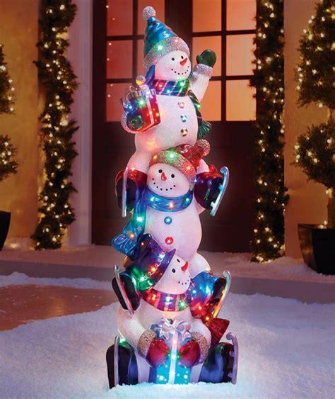 the 5 illuminated snowman totem pole christmas