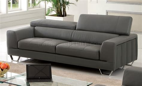 dark gray couch s879 sofa in dark gray leather by pantek w options
