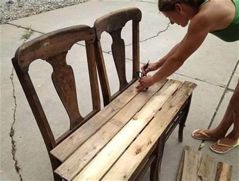 chair bench diy diy pallet bench from chairs 99 pallets